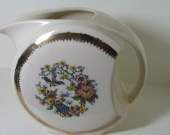 1940s STYLIZED PITCHER Cream and Gold with Bird and Flowers