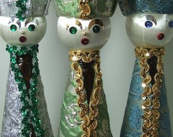 Vintage Christmas Folk Art 3 KINGS Bottles Embellished Sequins
