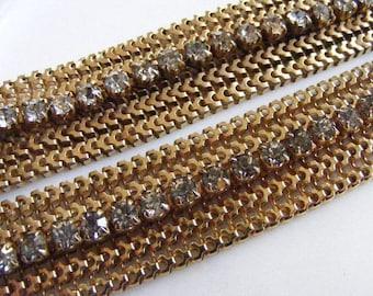 SALE 40s Reinad GOLD RHINESTONE Mesh Choker Necklace & Bracelet Set Deco