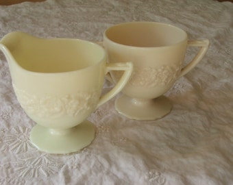 Vintage Sugar & Creamer Set MILK GLASS Cream Floral