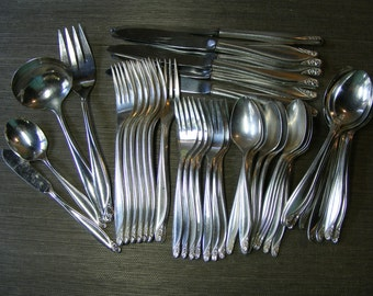Vintage Silver Plate ROGERS FLORAL SILVERWARE Set, Oneida, 45 Piece Set by Violets And Grace on Etsy