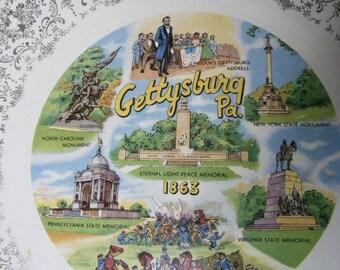 Vintage GETTYSBURG Souvenir Plate PA Lincoln, Decorative, Americana, American History, Address, Patriotic