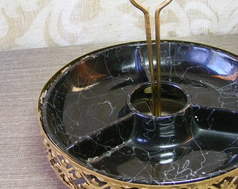 Hollywood Regency Vintage Divided Serving Dish Tray Black Faux Marble With Pierced Gold Holder
