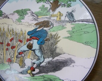 Plate Decorative Storybook The Tortoise And The Hare French Porcelain, Nursery Decor