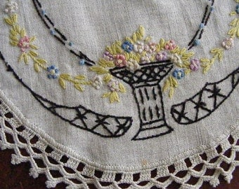 Vintage DECO EMBROIDERED DOILY Black and Chartreuse