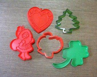 5 Vintage HOLIDAY Cookie Cutters - Heart, Shamrock, Turkey, Santa, Christmas Tree