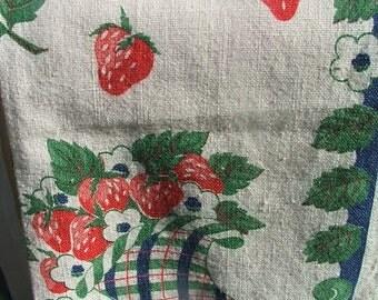 Vintage Kitchen Towel Strawberries Tea Linen Cornucopia Blue Green Red Cotton Blend Strawberry