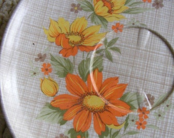 Vintage Melamine Plate Set Retro Pattern - 4 Brown & Orange FLORAL CROSSHATCH SAUCERS