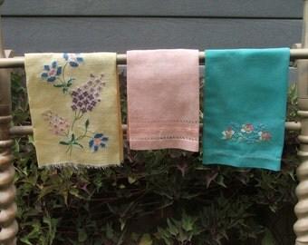 Vintage LinenTowel Instant Collection Finger Tip Handwork, Colorful, Embroidered