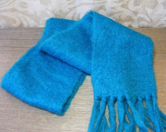 Vintage Winter Scarf Mohair & Wool PEACOCK BLUE St Michael Great Britain