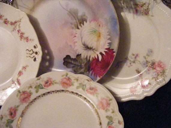 Porceain Plate Set Austria Desert Tea Instant Collection 4 Small Romantic Rose, Swag, Gold, Floral