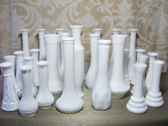 Reserved Listing Milk Glass BUD VASE Wedding Grouping of 32, Lot, Instant Collection, Special Event