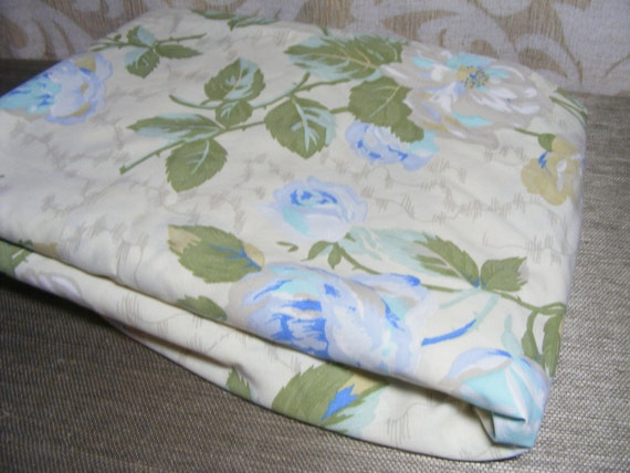 Vintage Sheet Flat ROSE FLORAL Double, Wondercale Springmaid, Soft Blue, Olive Green, Taupe