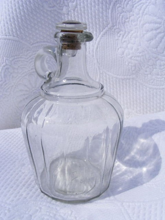 Antique Eapg Glass Panel Jug Cruet Vinegar Bottle C 1900