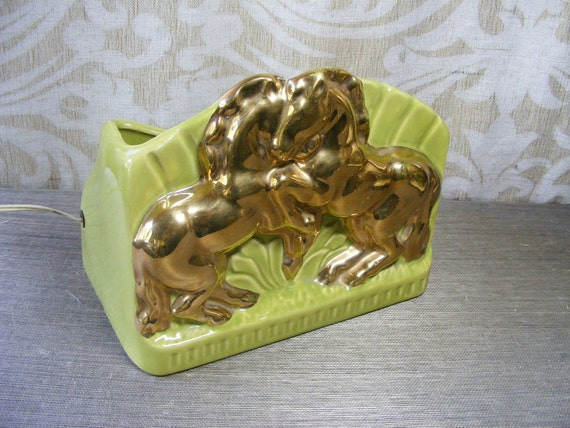 SALE Vintage 1950s Chartreuse HORSE TV Lamp & Planter Hollywood Regency Green / Gold Mid Century