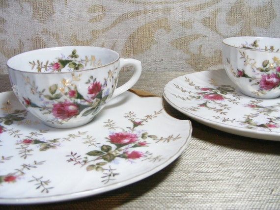 Moss Rose Tea Cup & Plate Luncheon Set for 2 Japan Romantic Pink and Gold in Scallop Shell Shape, Snack Set