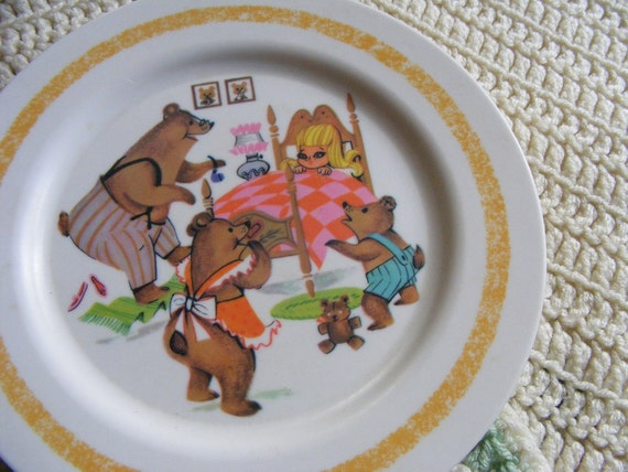 60s Melmac Plate Childrens GOLDILOCKS & THE 3 BEARS Oneida Deluxe Plastic Vintage Storybook
