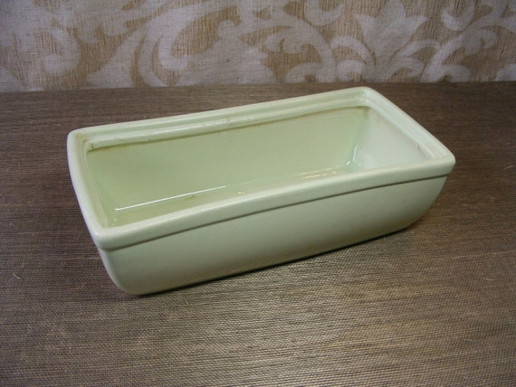 Vintage MINT GREEN PLANTER - Norton, Rectangular, Pottery