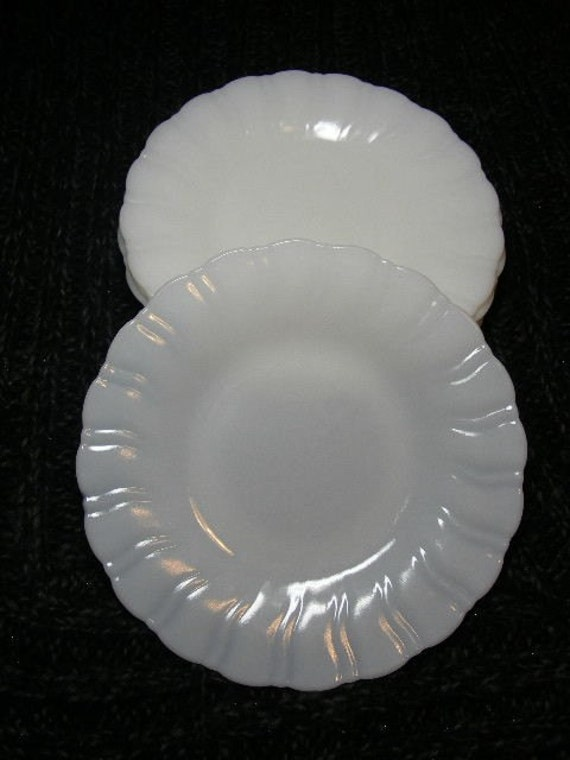 Vintage Early Milk Glass 23 pc Dinnerware Set, Plate, Bowl, Cup, Saucer - Rippled Edge, Fiery, Corning Crown