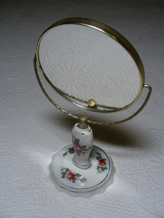 Porcelain MOSS ROSE Standing Vanity Mirror by Violets And Grace on Etsy
