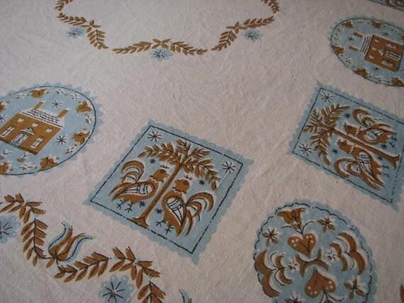 Vintage MID-CENTURY TABLECLOTH Chunky Linen Ecru Blue & Brown Pennsylvania Dutch Design
