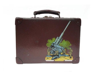 Soldier Machine Gun up-cycled Vintage Suitcase