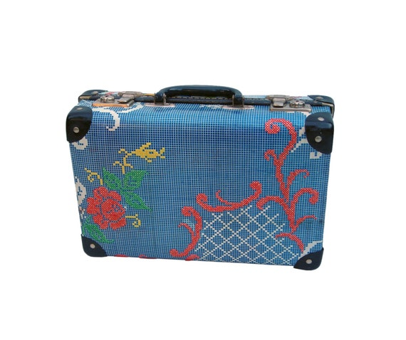 Small Floral hand embroidered up-cycled Vintage Suitcase