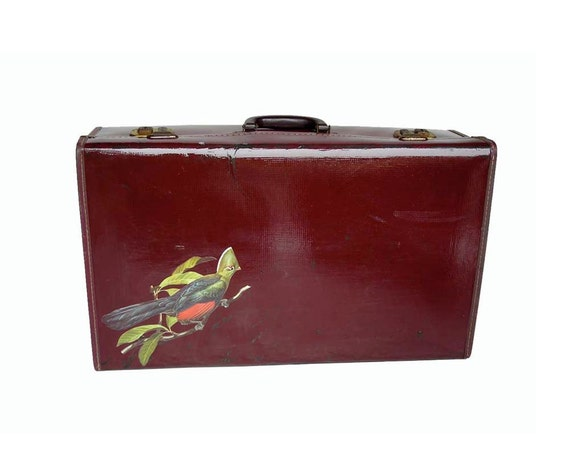 Maroon Bird up-cycled Suitcase