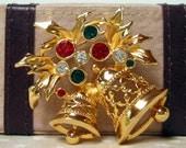 40% OFF SALE Vintage Christmas Bells Rhinestone Brooch signed AVON Was 8.50