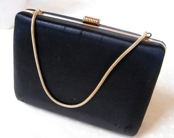 Vintage Black Satin Clutch Purse Handbag