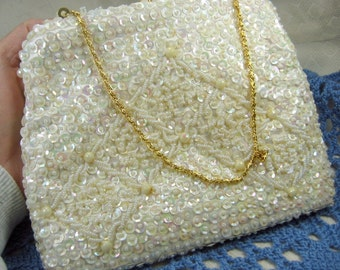 Vintage White Sequin and Seed Bead Purse