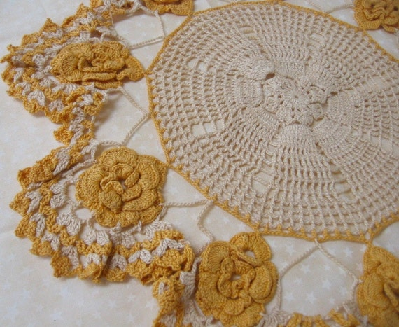 Vintage Yellow Crochet Table Top Doilie