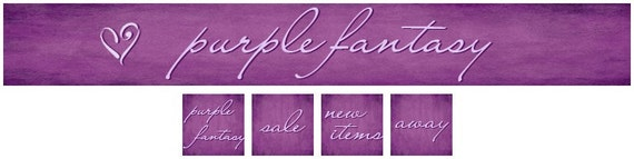 OOAK Purple Fantasy Premade Etsy Shop Banner and Avatars - NEVER RESOLD