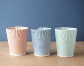 porcelain tumblers. mint. coral. blue. teal