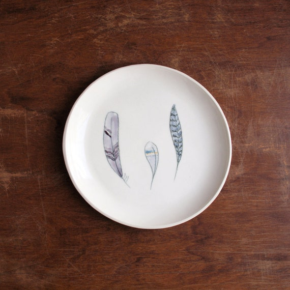 SALE..feathered dessert plate no.39