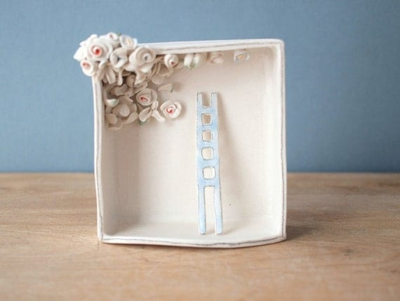 ladder and blooming ceiling. porcelain box sculpture