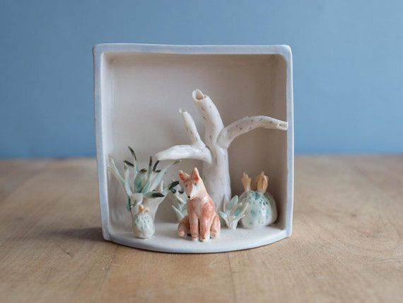Reserved for Queenie. porcelain FOX box sculpture