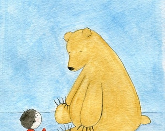 Bear Watercolor Animal Art Print