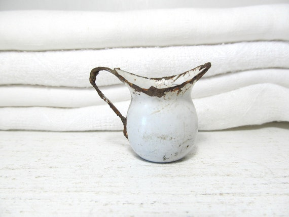 RESERVED -Tiny Vintage Enamelware Pitcher