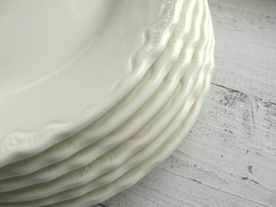 Six Small Dainty Edge Vintage Plates