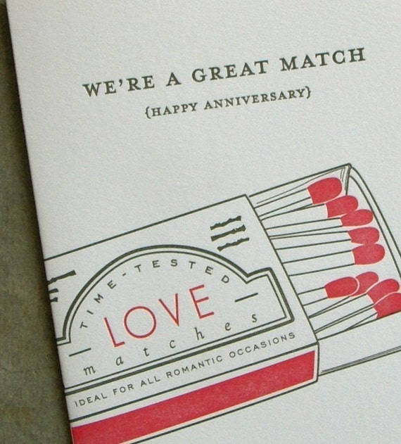 we're a great match-letterpress anniversary card
