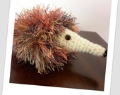 Orange/Cream Fluffy Crochet Echidna/Hedgehog - Imaginative Play