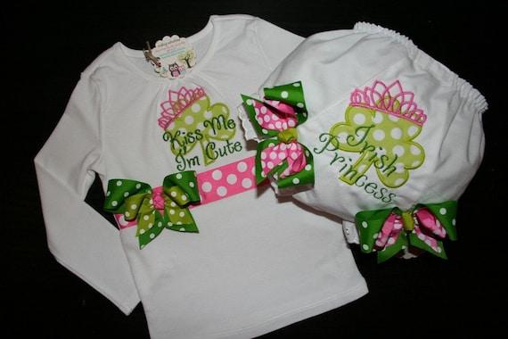 Custom ST PATICKS DAY Shirt and Bloomer/Diaper Cover for Baby/Toddler Girl- Irish Princess