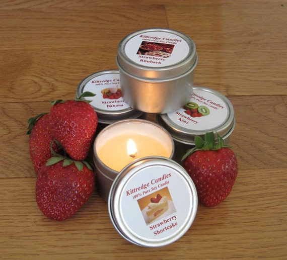 STRAWBERRY SAMPLER (four 2-oz soy candles)