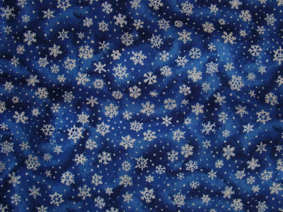 Blue Fabric With Snowflakes Snowflake Cotton Fabric