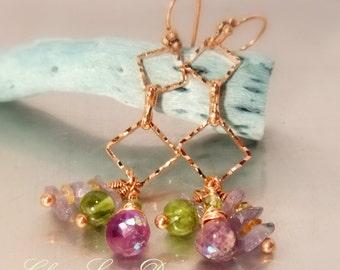 Copper, peridot, AB amethyst & Laborite Earrings