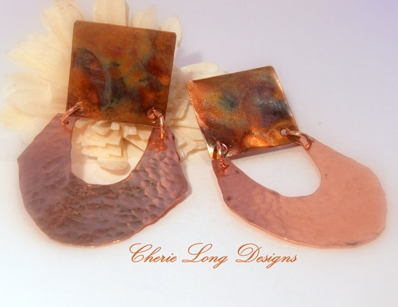 Copper Earrings - Going Tribal Hammered Copper Post Earrings