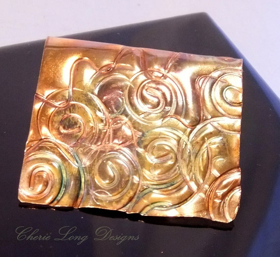 Swirls and Curves Copper Bookmark