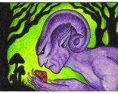 ArtAfterDark ACEO - MAGIC MUSHROOM - Original by Janette