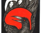 ArtAfterDark Three Witches - 5 x 7 Pen and Ink PRINT by Janette. Three Witches. Black Raven. Red Moon. Giclee Print. Unframed. Witchcraft.